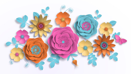 Vector paper art, summer flowers on a white background with leaves cut of paper. Stock image illustration 写真素材