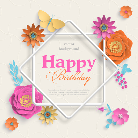 Concept banner with paper art flowers, eight pointed star frame and islamic geometric patterns. Paper cut 3d flowers on light background. Vector stock illustration Illustration