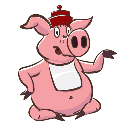 Cute pig in hat and bib shows a little teapot. Pink piggy cartoon character vector stock illustration.  イラスト・ベクター素材