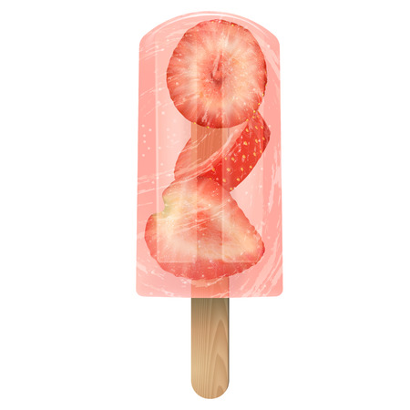 Red Fruit ice cream   with strawberry. Realistic transparent vector illustration 3d on white background