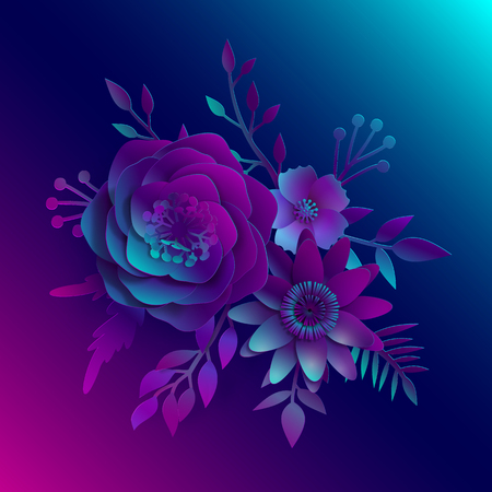 Paper art, realistic vector 3D flowers on a neon blue and pink light with leaves cut of paper. Stock image illustration