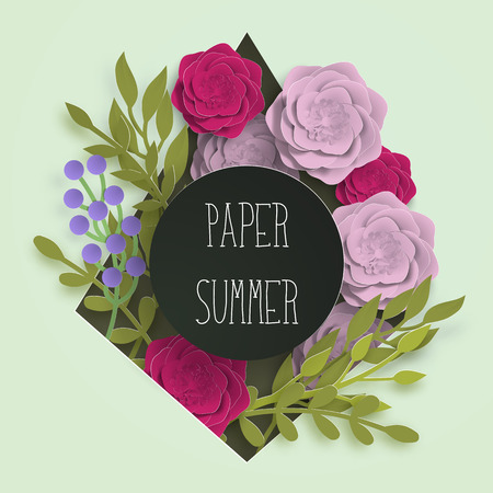 Paper summer banner template for social media advertising, invitation design or poster sale with paper art flowers and leaves background. Vector stock illustration  イラスト・ベクター素材