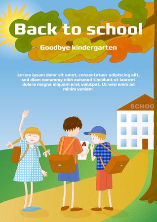 Back to school, goodbye kindergarten broshure template or greeting card. Vector stock illustration.  イラスト・ベクター素材