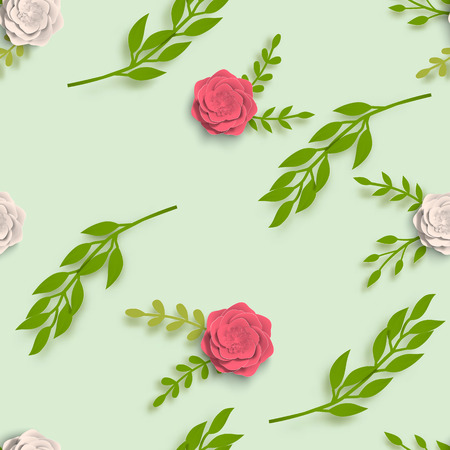 Paper seamless pattern art summer flowers with leaves cut of paper. Vector stock illustration Illustration