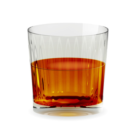 Vector vaso copa transparente aislado realista con whisky. Ilustración de icono de vidrio de bebida de alcohol Ilustración de vector