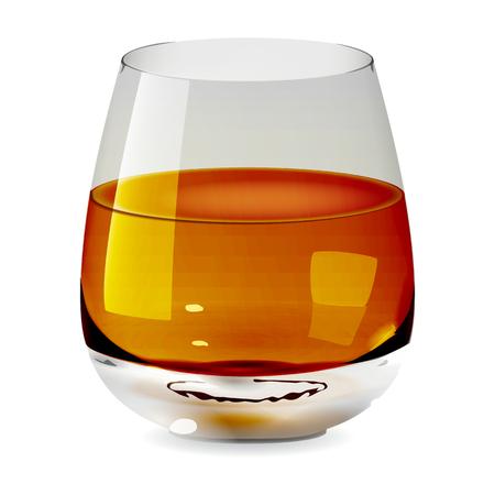 Verre à gobelet transparent et isolé réaliste de vecteur avec du whisky. Verre à boire de l'alcool icône illustration