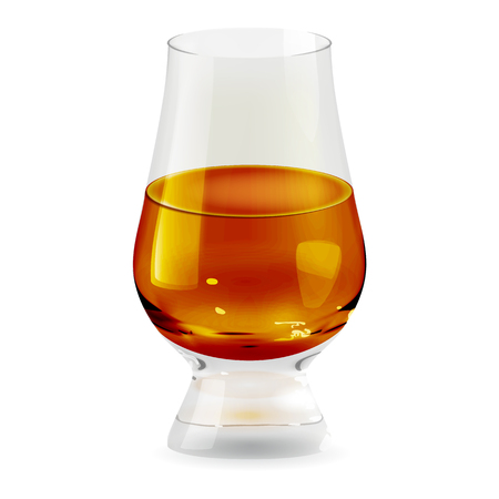 Vector realistic transparent and isolated tumbler glass with whiskey. Alcohol drink glass icon illustration
