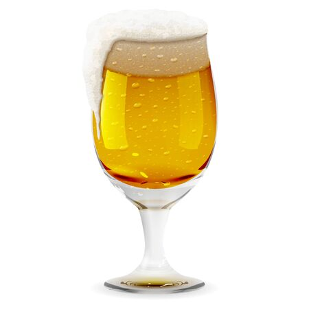 Glass with foamy beer, realistic mug. Alcohol drink glass icon illustration Banque d'images