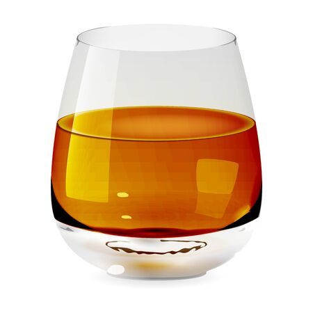 Tumbler glass with whiskey, realistic cup and isolated. Alcohol drink glass icon illustration