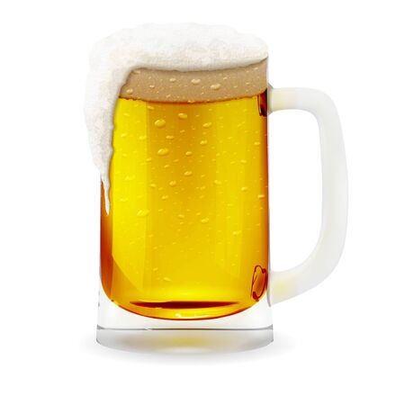 Beer mug with foamy, realistic glass with cup handle. Alcohol drink glass icon illustration