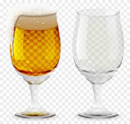 Foamy Beer Glass realistic vector 3D illustration. Illustration