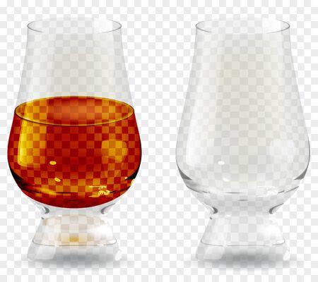 Whiskey tumbler glass transparent icon vector illustration