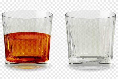 Ilustración de vector de icono transparente de vidrio de copa de whisky Ilustración de vector