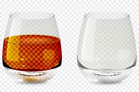 Ilustración de vector de icono transparente de vidrio de vaso de whisky