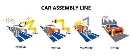 Car conveyor assembly production line on factory icons.