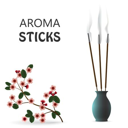 Aroma smoke reed sticks in ceramic blue bottle. Sakura aromatherapy vector illustration.