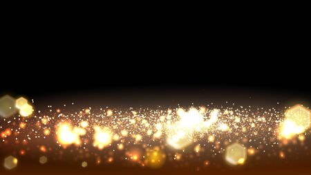 Gold bokeh glitter and light abstract background. Vector stock illustration