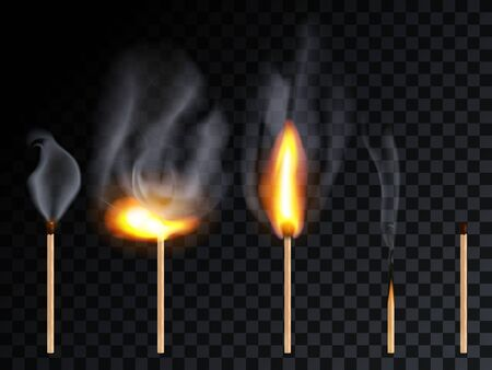 Match stick with smoke and different flame set, isolated on transparency grid background.