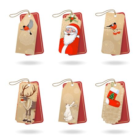Gift Christmas tags vector collection. Stock illustration Illustration