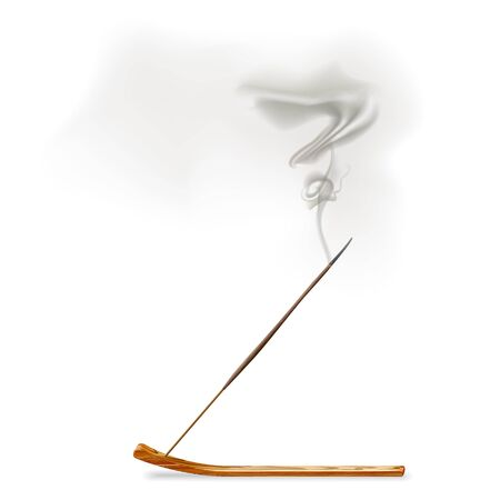 Aroma smoke reed sticks on wooden stand, aromatherapy vector illustration.