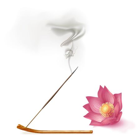 Aroma smoke reed sticks on holder, lotus aromatherapy vector illustration.