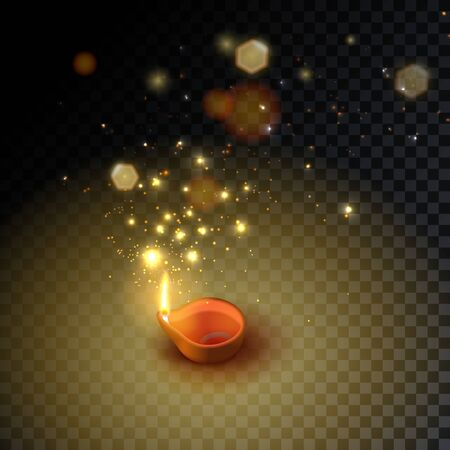 Diwali. Indian Festival Oil Burning Lamps, Bokeh and Light. Isolated candle icon. Vector illustration