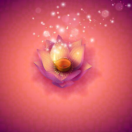 Diwali. Indian Festival Lotus Oil Burning Lámparas, Bokeh y Luz. Vela de flores sobre fondo de mandala. Ilustración vectorial