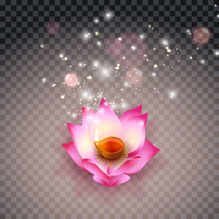 Lotus oil lamp Indian. Diwali Festival Burning Lamps, Bokeh and Light. Flower candle on transparent background. Vector illustration Illustration