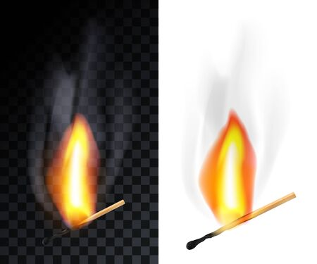 Match stick burning with smoke, isolated on transparency grid and white background.