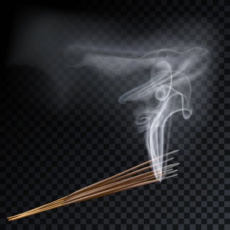 Aroma smoke eight reed sticks aromatherapy vector illustration. Иллюстрация