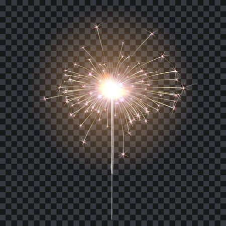Sparkler or bengal fire lighting element festive decoration. Magic firework for holiday and birthday. Isolated on transparent background. Vector stock illustration