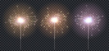 Sparklers or bengal fire, three color lighting blue, red, yellow, elements festive decoration. Magic firework for holiday and birthday. Isolated on transparent background. Vector stock illustration Illustration