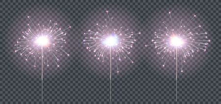 Sparkler or bengal fire set lighting elements festive decoration. Magic firework for holiday and birthday. Isolated on transparent background. Vector stock illustration Illustration