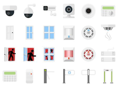 Security system set icons of video cameras, detectors, turnstiles, access control. Sensors for doors and windows, motion sensors and smoke sensors at rest and of alarm. Icons for a security store.