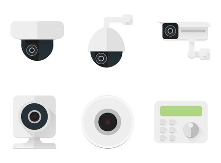 Security camera icons set. CCTV flat color simbols for a security and shops. Vector stock illustration Illustration