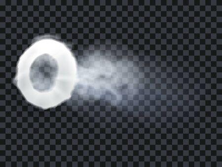 Vape, cigarette steam ring smoke exhale puff. White fog smog isolated transparent background. Vector illustration