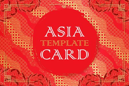 Asian template card with japanese pattern and peony.