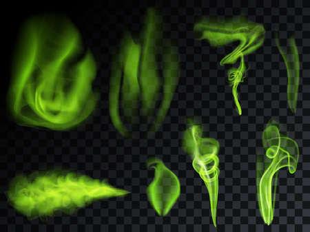 Green smoke set on transparent background. Bad smells most toxic smog. Stock vector illustration Illustration