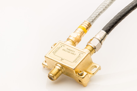 Coaxial cables and splitter electical component.