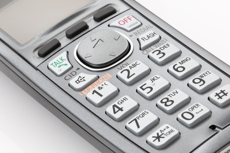 handset: Telephone handset cordless close up of buttons. Stock Photo