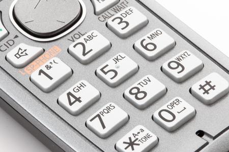 touchtone: Dial pad on cordless telephone. Stock Photo