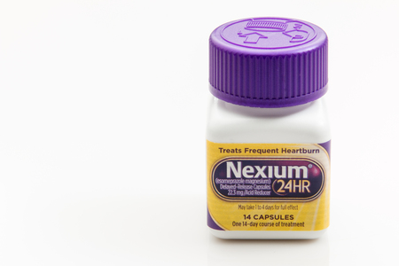 Pensacola, FL - August 14, 2016: Nexium is an acid reflux medication and is one of the best selling medications worldwide. Editorial