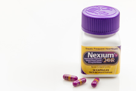 Pensacola, FL - August 14, 2016: Nexium is a  medication for Acid reflux, also known as GERD.