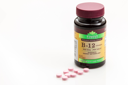 Pensacola, FL - August 14, 2016: B-12  is a vitamin supplement used to promote better metabolism and energy.