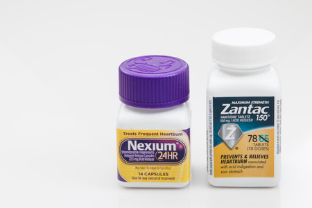 PENSACOLA, FL - March 11, 2017: Zantac and Nexium are two medications for heartburn. Editorial