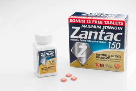 PENSACOLA, FL - March 11, 2017: Zantac 150 is a popular OTC antacid used for acid reflux. Editorial