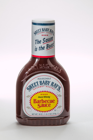 illustrative editorial: Pensacola, FL - June 4, 2017: Sweet Baby Rays brand barbecue sauce is a popular condiment.