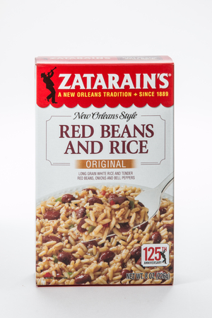 Pensacola, FL - June 4, 2017: Zatarains brand red beans and rice mix is a common side dish. Editorial