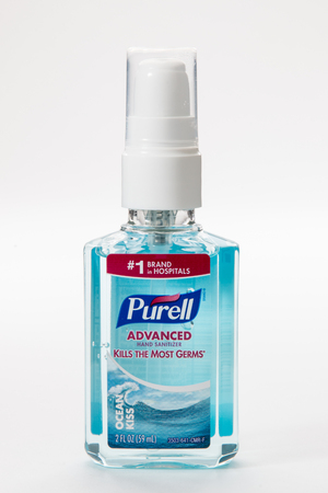 Pensacola, FL - June 4, 2017: Purell brand hand sanitizer is used to kill germs. Editorial