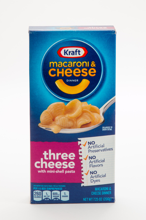 Pensacola, FL - June 4, 2017: Kraft macaroni and cheese dinner in a box is a classic side dish.